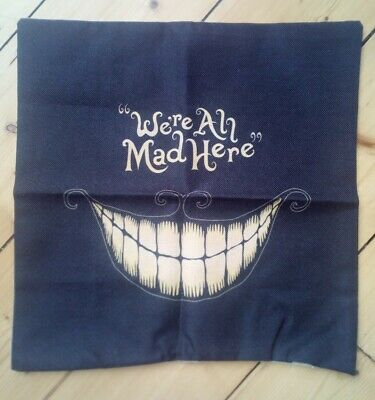 £5.49 • Buy Alice In Wonderland We're All Mad Here Cushion Cover Black 17  X 17  Zip Closure
