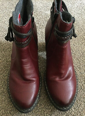 £9.50 • Buy Rieker Burgundy Ankle Boots Size 41 Worn Once