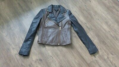 £10 • Buy Leather Biker Jacket Tan/brown With Gold Metal Wear Size Small - Mango