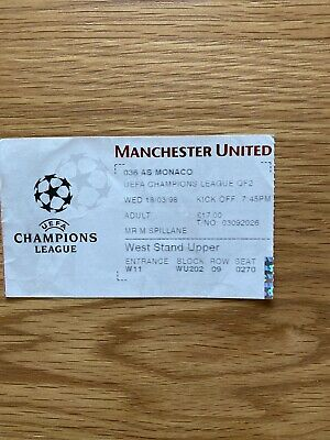 £4.25 • Buy Manchester United V As Monaco Match Ticket 1997 1998 Champions League