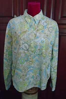 £18.14 • Buy COOLIBAR Floral Print Sun Protection UPF 50 LS Snap Front Roll Tab Top Shirt XL