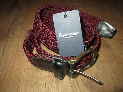 £29.99 • Buy Anderson's Stretch Woven Designer Belt Italy Burgandy 95 Rrp £105 New Tags Gift