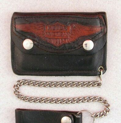 £29.04 • Buy Vintage Small 4.5  Leather Biker Chain Motorcycle Trucker Wallet American Tooled