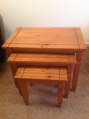 £50 • Buy Nest Of 3 Solid Pine Tables