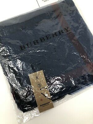 £32 • Buy Burberry Navy Check Cashmere Wool Scarf - Lightweight BNWT