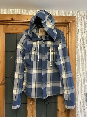 £4.20 • Buy Hollister  Blue Checked Hooded Cotton Shirt Size Medium