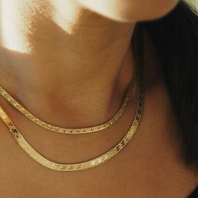£27 • Buy Daisy London Jewellery Engraved Flat Snake Chain Necklace 18ct Gold Plate New