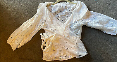 AU45 • Buy Alice McCall  Boho Wrap Top Size 8 Broderie Lace White Cotton