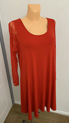 AU14.69 • Buy Ladies Red Lace Christmas Party Stretch Flare Long Tunic / Dress Plus Size UK 22