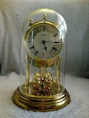 £65 • Buy Gold Seiko Anniversary Mantle Clock QXG502GD Glass Dome Spinning Balls