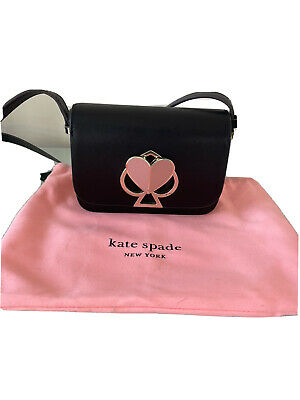 AU63 • Buy Black Leather Kate Spade New York Crossbody Bag With Pink Heart