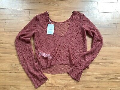 AU17 • Buy Bershka Beaded Netted Cropped Top Long Sleeve Size L/12 **brand New!