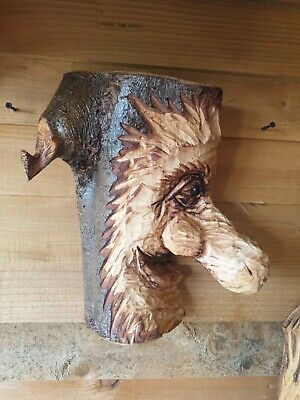 £39.99 • Buy Chainsaw Carved Green Man / Wood Spirit With Hook