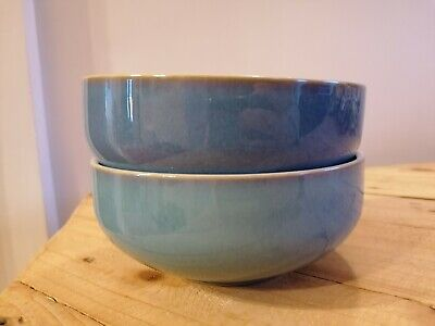 £19 • Buy Two Beautiful Denby Azure Blue Cereal Or Pasta Bowls Excellent Condition