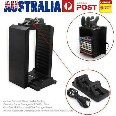 AU38.09 • Buy Vertical Stand Cooling Fan With Game Storage For PS4 Pro Slim Xbox One