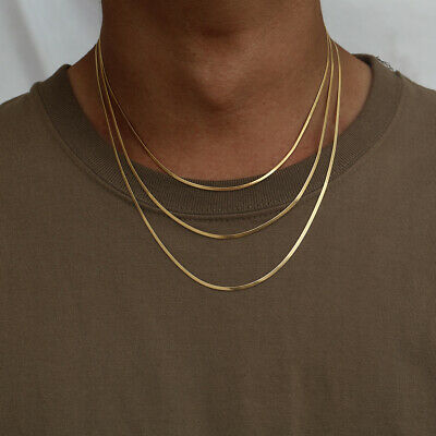 £6.99 • Buy 18K Gold Flat Snake Chain Necklace Mens Chain Thin Silver Chain Simple Jewellery