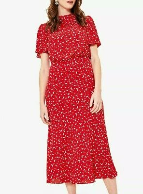 £12 • Buy OASIS || Ladies Ditsy Heart Floral Red Flared Short Sleeve Midi Dress - Size 12