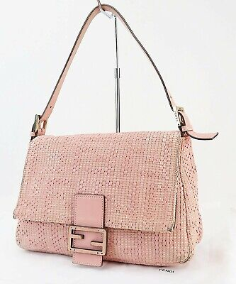 £253.86 • Buy Authentic FENDI Pink Woven Leather Tote Hand Bag Purse #41005