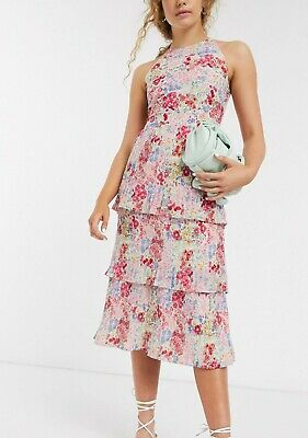£19.99 • Buy WAREHOUSE || Micro-pleated Tiered Ruffle Floral Midi Dress - Size 8 - RRP: £79