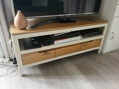 £65 • Buy TV Storage Display Stand Unit Cream Wood Length 41 In 3 Drawers RRP 169