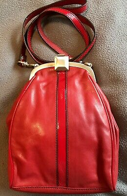 AU35 • Buy Mimco Red Leather Sling, Crossbody Bag. In Great Condition. Silver Clasp.