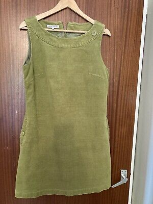 £7.50 • Buy Laura Ashley Lime Green Cord Pinafore Dress Size 14