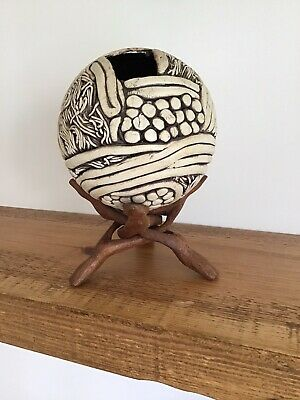 £32 • Buy Unusual Hand Made Pottery Ball Sculpture Twisted Folding Stand.Signed.