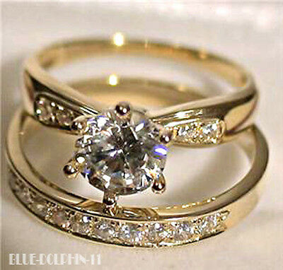 AU469 • Buy Real Genuine Solid 9K Yellow Gold Engagement Wedding Rings Set Simulated Diamond