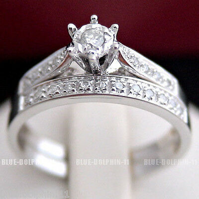 AU699 • Buy Real Genuine Natural Diamonds Solid 9ct White Gold Engagement Wedding Rings Set