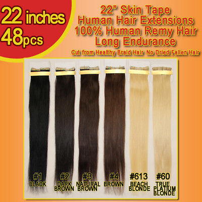 22 Inches Skin Tape Russian Remy Hair Extensions 48 Pcs 8A QUALITY LAST LONGER  • 193.59£