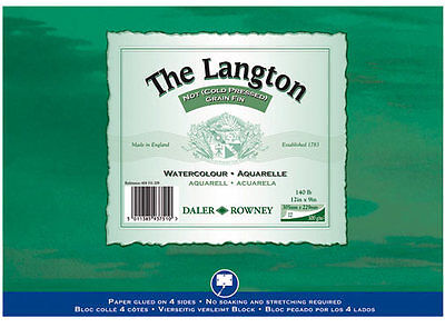Daler Rowney Langton Watercolour Block 140lb/300gsm Cold Pressed NOT 12  X 9  • 17.99£