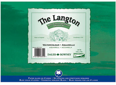 Daler Rowney Langton Watercolour Block 140lb/300gsm Cold Pressed NOT 16  X 12  • 21.99£