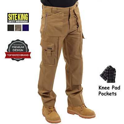 £21.95 • Buy Mens Multi Pocket Cargo Work Trousers With Knee Pad Pockets Combat By SITE KING