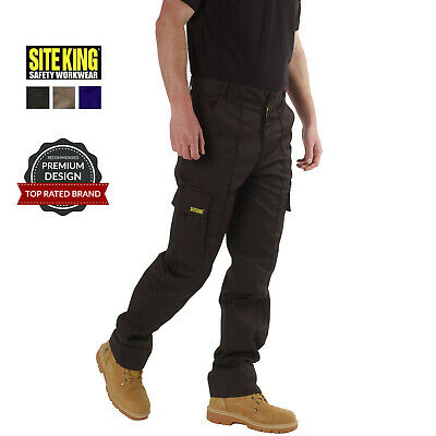 £18.95 • Buy Mens Cargo Combat Work Trousers Size 28 To 52 Black Navy Khaki By SITE KING 02