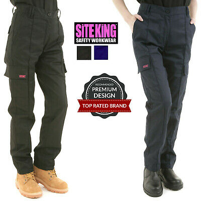 £18.95 • Buy Ladies Cargo Combat Work Trousers Size 8 To 22 In Black Or Navy By SITE KING