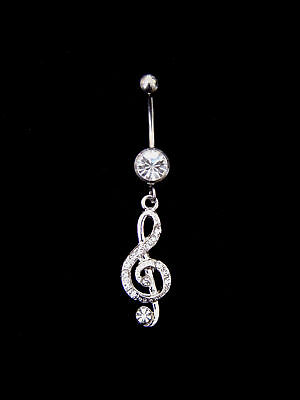 Crystal Treble Clef Belly Bar Navel Ring Surgical Steel Clear Silver Tone • 9.25£