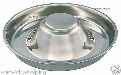 Puppy Saucer Weaning Feeding Bowl Stainless Steel Medium Size 29cm 1.4l Whelping • 14.25£