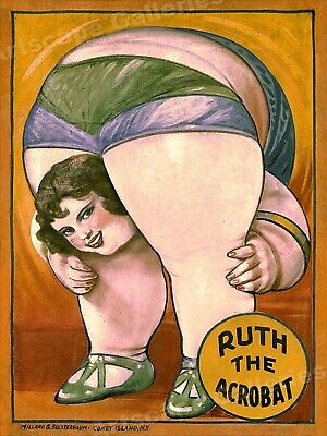 $ CDN21.09 • Buy Circus Fat Lady - 1930s Coney Island Sideshow Circus Poster - 20x28