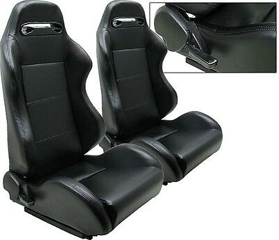 $249.99 • Buy 1 Pair Black Leather Racing Seat RECLINABLE ALL Ford *