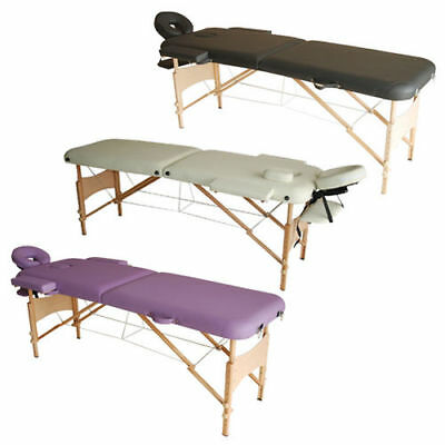 Light Weight Portable Massage Table Beauty Therapy Couch Bed 2 Section Wooden • 69.99£