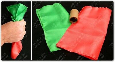 Colour Changing Silk Hanky 6  Stage Close Up Magic Trick Prop Red Green Dye Tube • 3.99£