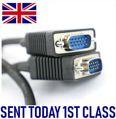 Monitor Lead 15 Pin SVGA Cable VGA Multi Lengths • 10.39£