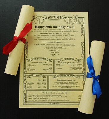 £2.75 • Buy 61st,62nd,63rd,64th,65th,66th,67th,68th,69th Birthday Parchment Gift/present