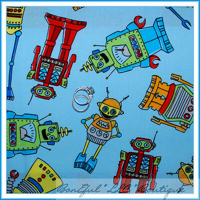 $8.40 • Buy BonEful Fabric FQ Cotton Quilt Blue Red Baby Boy Robot Tool Bright Computer Toy
