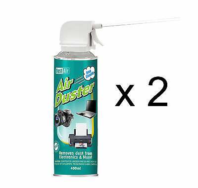 2 X 400ml Compressed Air Duster Cleaner Can Canned Laptop Keyboard Mouse • 9.69£