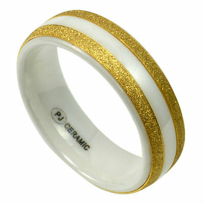 $6 • Buy Men's White CERAMIC Band With Brushed Gold Accents In Size 11 -NEW- In Gift Box
