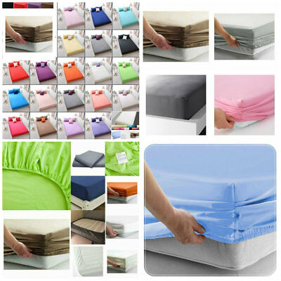 Fitted Sheet 25cm 100% Poly Cotton Single Double King Super King Size Bed Sheets • 7.99£