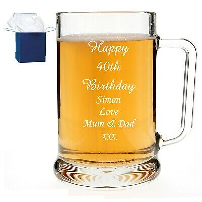 Personalised Pint Beer Glass Tankard Birthday Gift 18th 21st 30th 40th 50th 60th • 9.98£