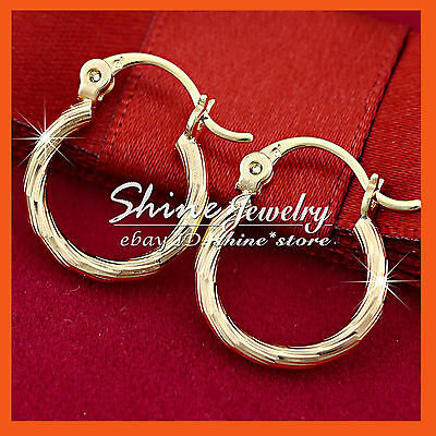 AU9.73 • Buy 9k Champagne Gold Gf Twist Hoop Huggies Sleeper Solid Girls Womens Earrings Gift