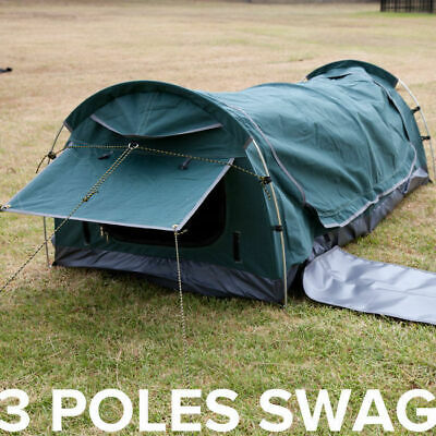 AU139 • Buy Single Swag Dome Tent With Aluminium Poles For Camping Fishing Canvas Hoop